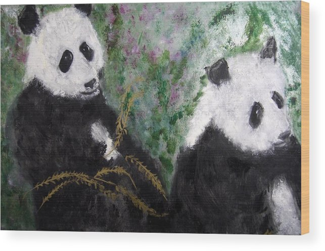 Animal Wood Print featuring the painting Pandas With Golden Bamboo by Michela Akers