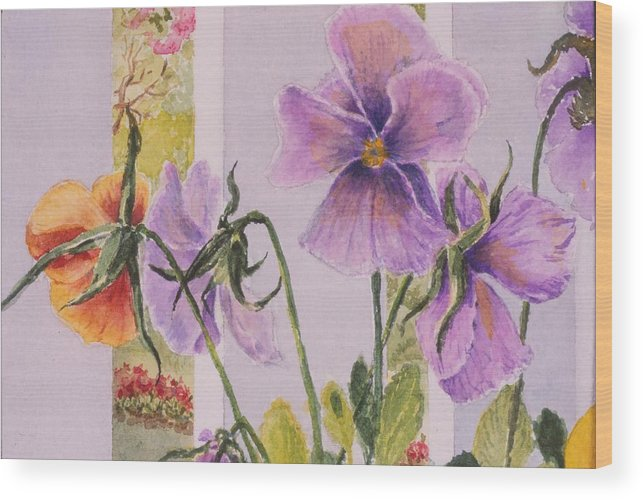 Florals Wood Print featuring the painting Pansies On My Porch by Mary Ellen Mueller Legault