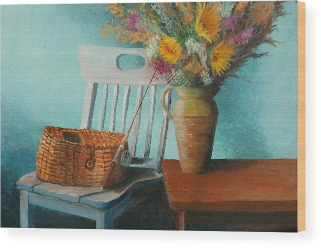 Floral Wood Print featuring the painting Papa's Pole by Jerry McElroy
