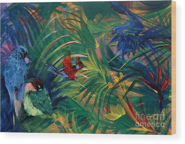 Birds Wood Print featuring the painting Paradise Birds by Jamie Hartley