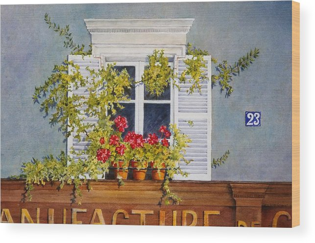 France Wood Print featuring the painting Parisian Window by Mary Ellen Mueller Legault