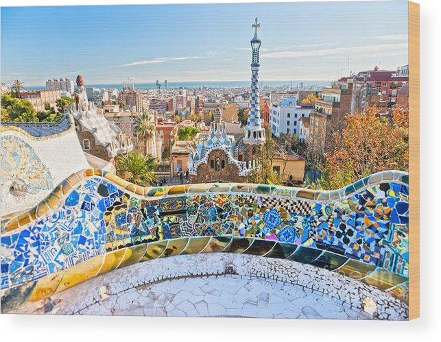Architecture Wood Print featuring the photograph Park Guell Barcelona by Luciano Mortula