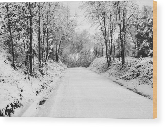 Snow Wood Print featuring the photograph Path In The Snow by Michelle Shockley