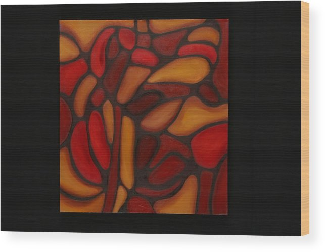 Abstract Wood Print featuring the painting Pattern 1 by Mary Silver