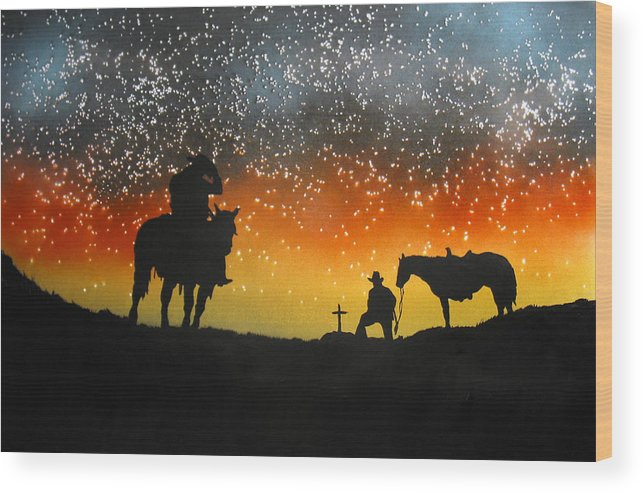 Silouette Wood Print featuring the painting Paying Our Respects by Ed Moore