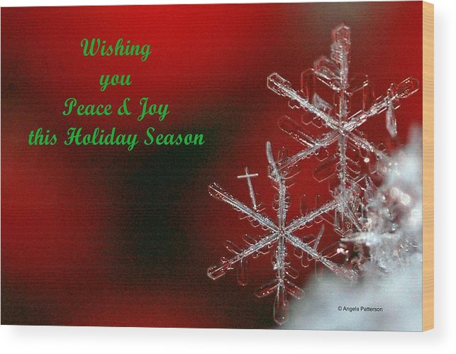 Christmas Card Wood Print featuring the photograph Peace And Joy Christmas One by Angela Patterson