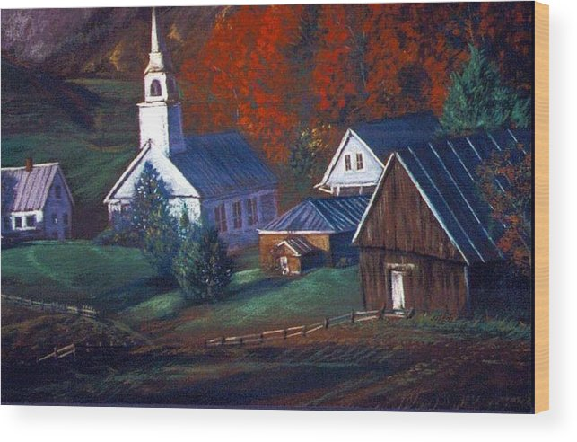 Church Wood Print featuring the pastel Peaceful Dwellings by Tommy Winn