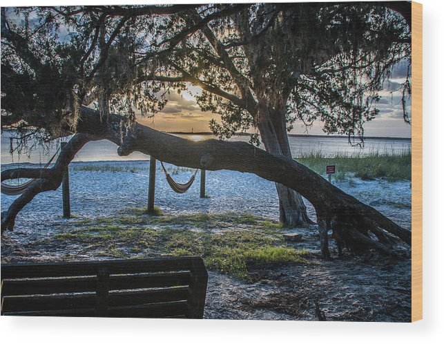 Peaceful Wood Print featuring the photograph Peaceful Sunset by Rick Allen