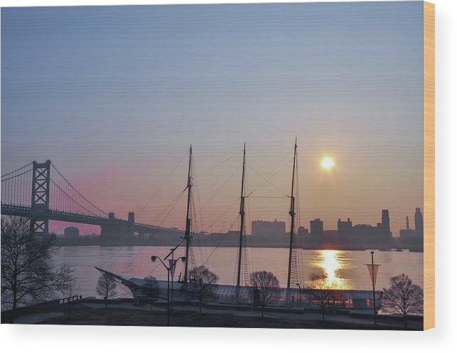 Penns Wood Print featuring the photograph Penns Landing Sunrise by Bill Cannon