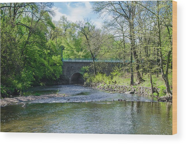 Pennypack Wood Print featuring the photograph Pennypack Creek Bridge Built 1697 by Bill Cannon