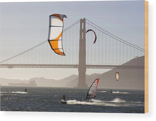 Lifestyles Wood Print featuring the photograph People Wind Surfing And Kitebording by Skip Brown