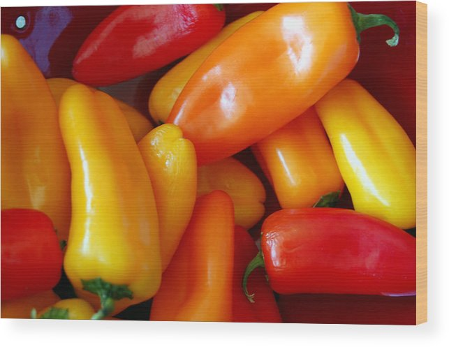 Peppers Wood Print featuring the photograph Pepper Medley by Heather S Huston