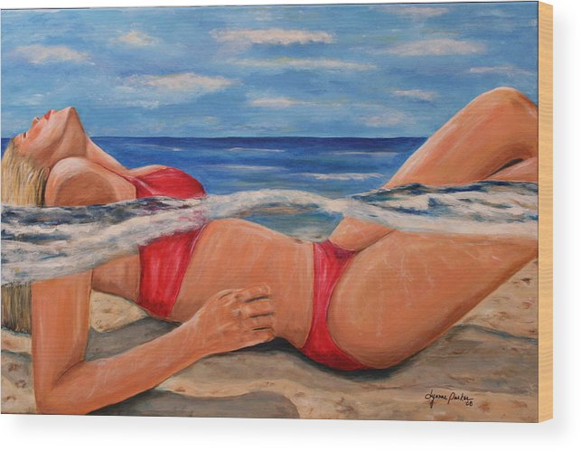 Beach Wood Print featuring the painting Perfect Spa by Dyanne Parker