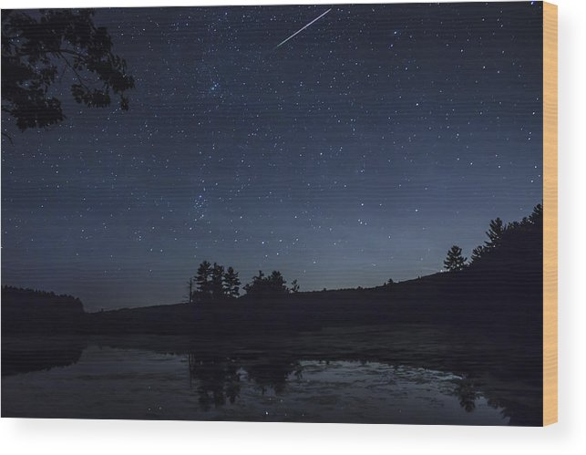 Harvard Forest Wood Print featuring the photograph Perseid Meteor Shower Over Pond by John Burk