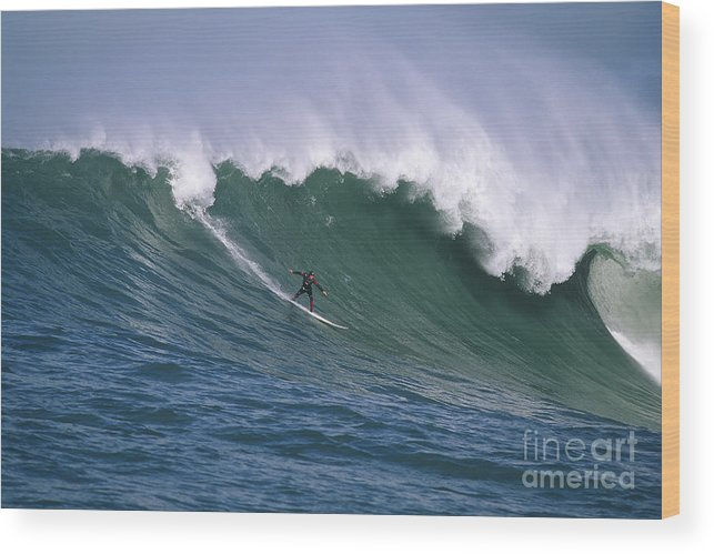 Mavericks Wood Print featuring the photograph Pete On A Perfect Day At Mavericks by Stan and Anne Foster