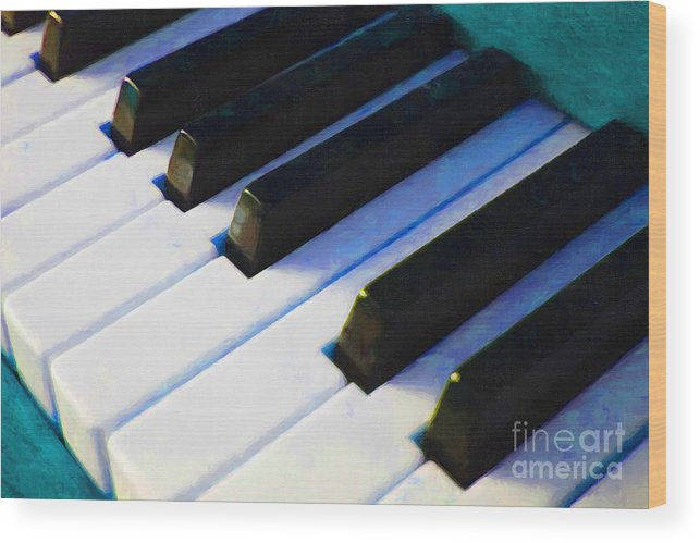 Music Wood Print featuring the photograph Piano Keys . V2 . Blue by Wingsdomain Art and Photography