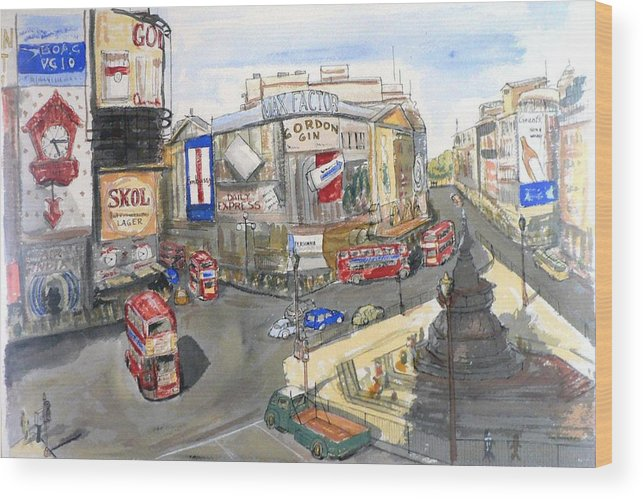 Street Scene Wood Print featuring the painting Picadilly Circus by Dan Bozich