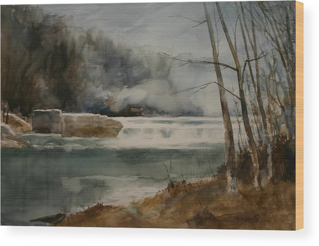 Landscape Wood Print featuring the painting Picketts Dam by Don Cull