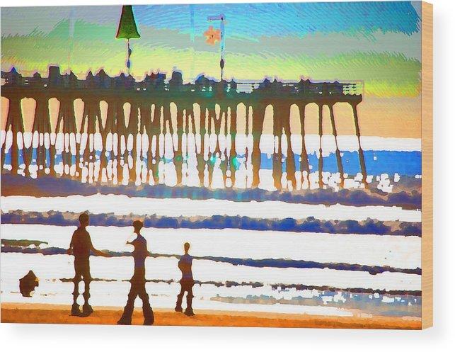 Wood Print featuring the digital art Pier by Danielle Stephenson