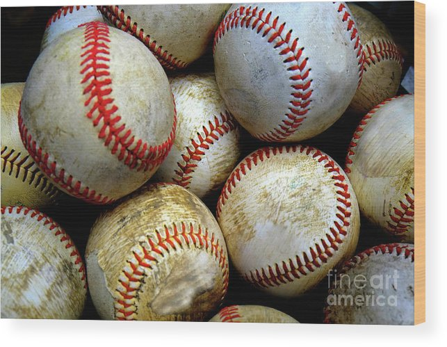 Abstract Wood Print featuring the photograph Pile Or Stack Of Baseballs For Playing Games by Lane Erickson