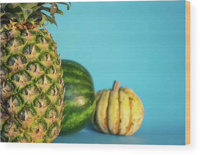Pineapple Wood Print featuring the photograph Pineapple, Watermelon, Pumpkin by Happy Home Artistry