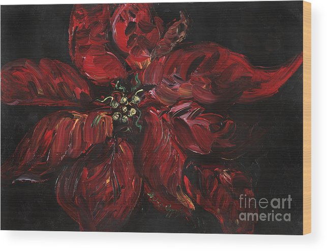Abstract Wood Print featuring the painting Poinsettia by Nadine Rippelmeyer