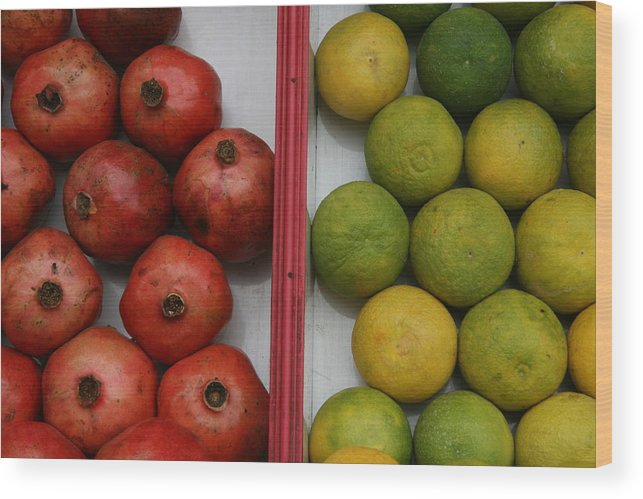 Fruits Wood Print featuring the photograph Pomegranate And Sweet Lime by Deepak Pawar