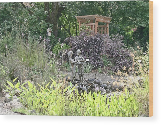 Ponds Wood Print featuring the photograph Pond Statue by Liz Santie