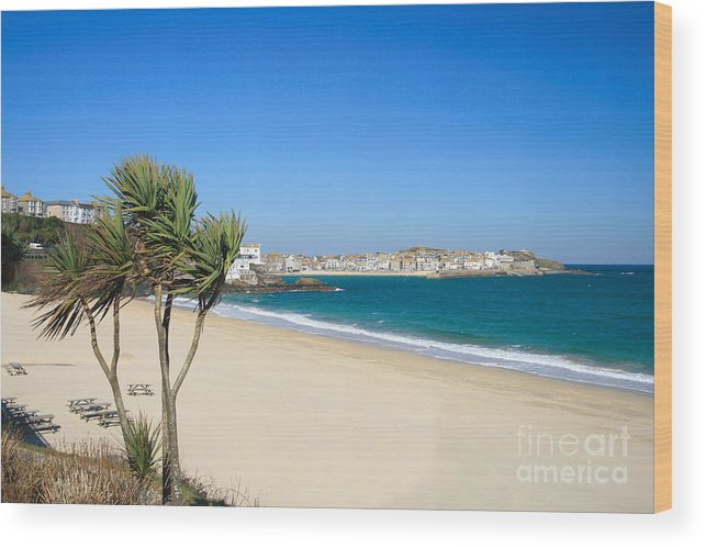 St Ives Wood Print featuring the photograph Porthminster Beach by Carl Whitfield