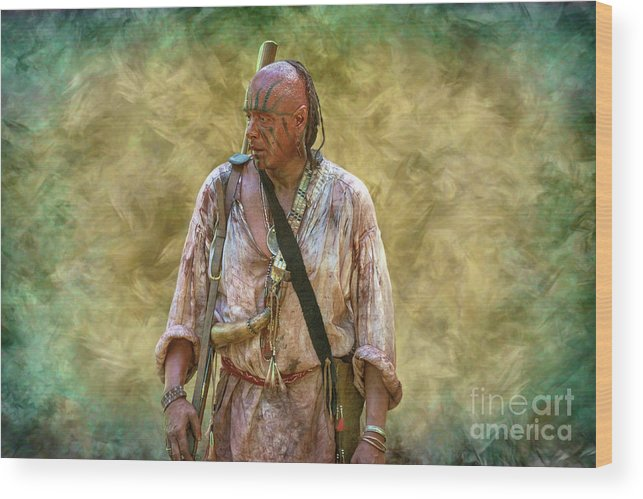 Portrait Of Warrior Bushy Run Wood Print featuring the digital art Portrait Of Warrior Bushy Run by Randy Steele