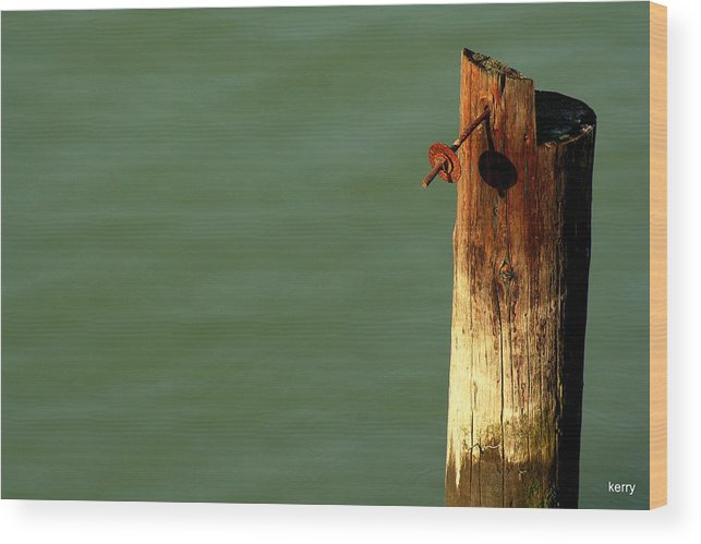 Post Wood Print featuring the photograph Post With Rust by Kerry Reed