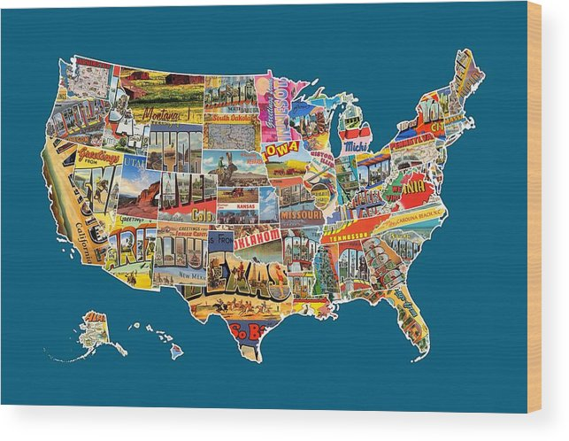 Postcards Of The United States Vintage Usa All 50 States Map Wood