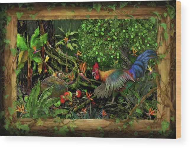 Rooster Wood Print featuring the painting Poultrified Garden Of Eden by Robert Pratt