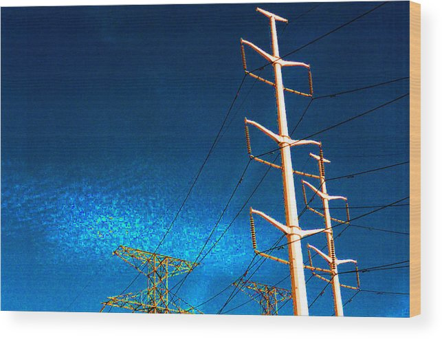Sky Wood Print featuring the photograph Power Line Light Clouds 2 by Lyle Crump