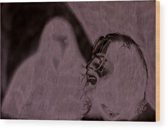 Portrait Wood Print featuring the drawing Prayer by Jason McRoberts