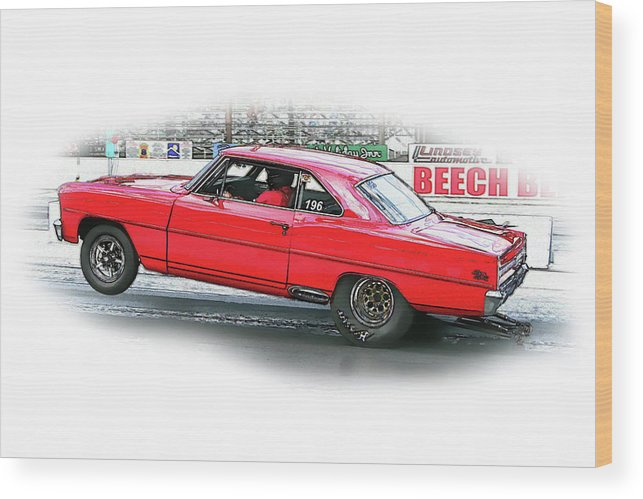 Drag Racing Wood Print featuring the digital art Ps Color 126 by Shellie Midgette