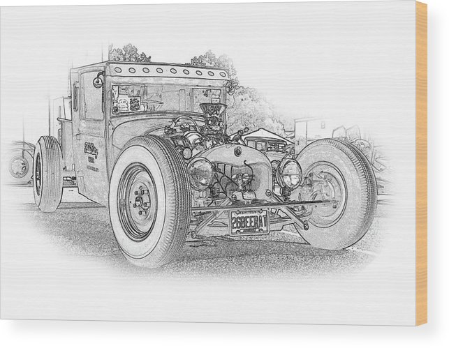 Cars Wood Print featuring the digital art Ps Pencil 061 by Shellie Midgette