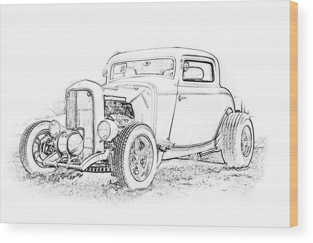 Cars Wood Print featuring the digital art Ps Pencil 184 by Shellie Midgette