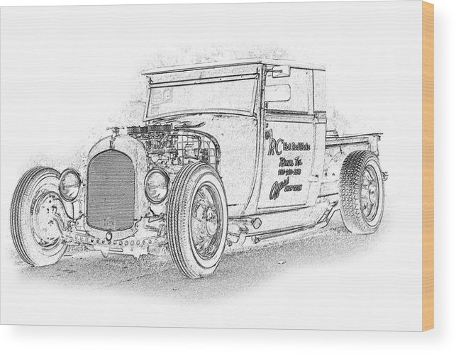 Cars Wood Print featuring the digital art Ps Pencil 222 by Shellie Midgette