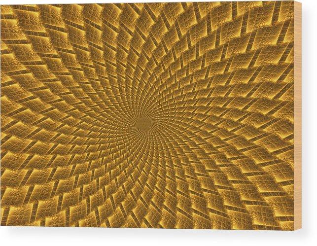 Elena Riim Wood Print featuring the digital art Psychedelic Spiral by Elena Riim