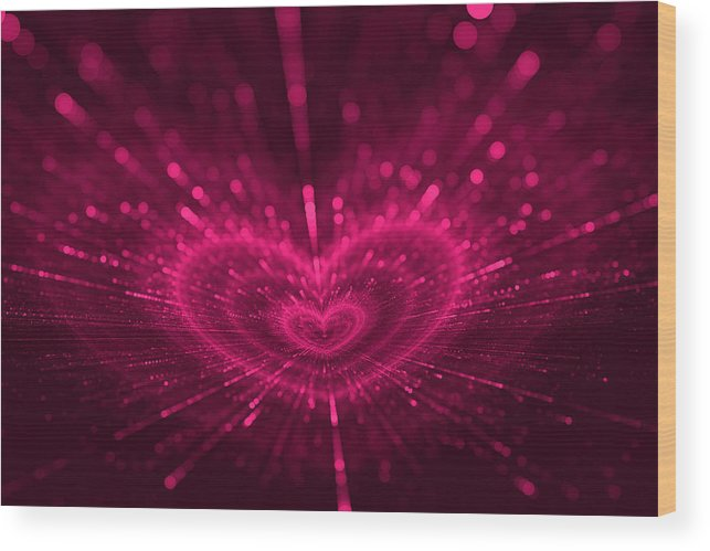 Romantic Wood Print featuring the digital art Purple Heart Valentine's Day by Anna Bliokh