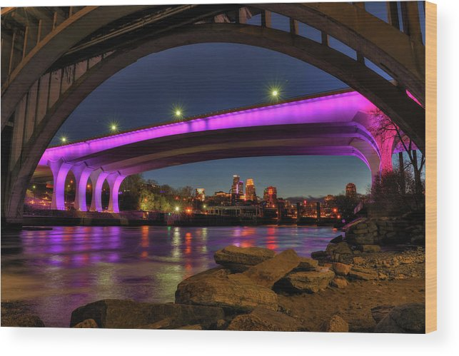 Minneapolis Wood Print featuring the photograph Purple Minneapolis by Shane Mossman
