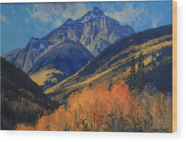 Landscape Wood Print featuring the painting Pyramid Peak by Lanny Grant