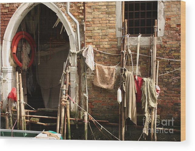 Venice Wood Print featuring the photograph Raggedy Door On Canal In Venice by Michael Henderson