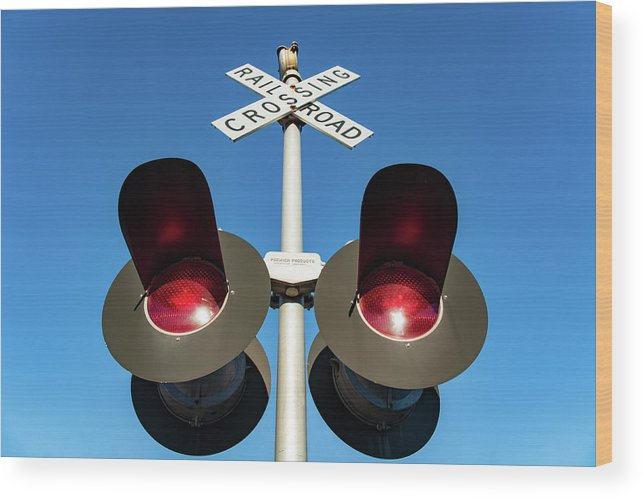 Great Falls Wood Print featuring the photograph Railroad Crossing Lights by Todd Klassy