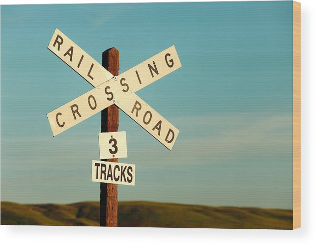 Railroad Crossing Wood Print