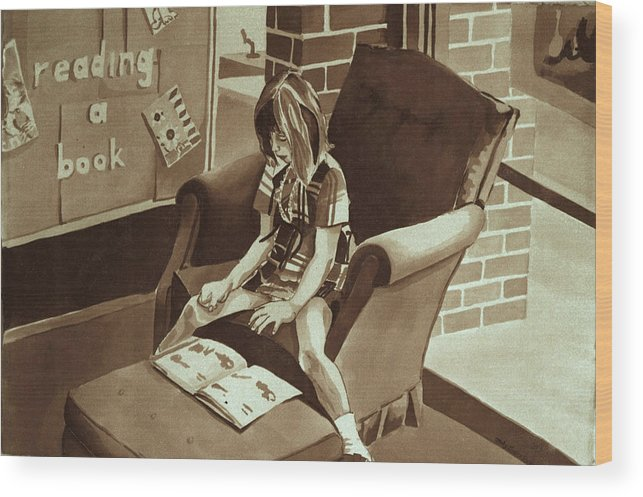 Girl Reading Book Wood Print featuring the painting Reading Corner by Judy Swerlick