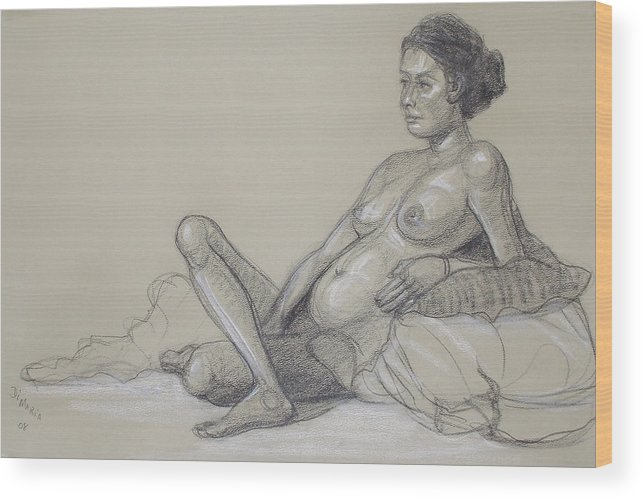 Realism Wood Print featuring the drawing Reclining Nude 2 by Donelli DiMaria