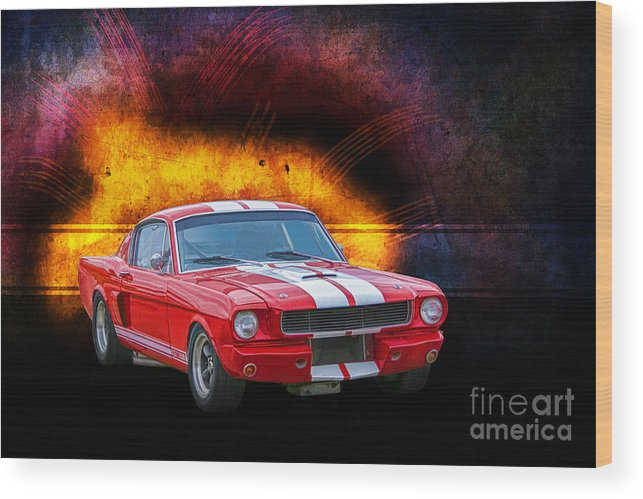 Red Wood Print featuring the photograph Red 1966 Mustang Fastback by Stuart Row