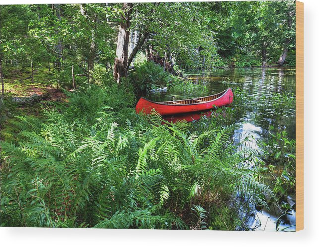 Red Canoe In The Adk Wood Print featuring the photograph Red Canoe In The Adk by David Patterson